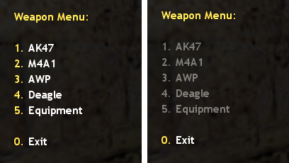 Weapon Menu Hardcoded